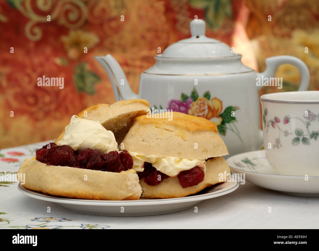 Cream Tea Of Scones Jam Clotted Cream And Tea England Uk Stock Photo Alamy
