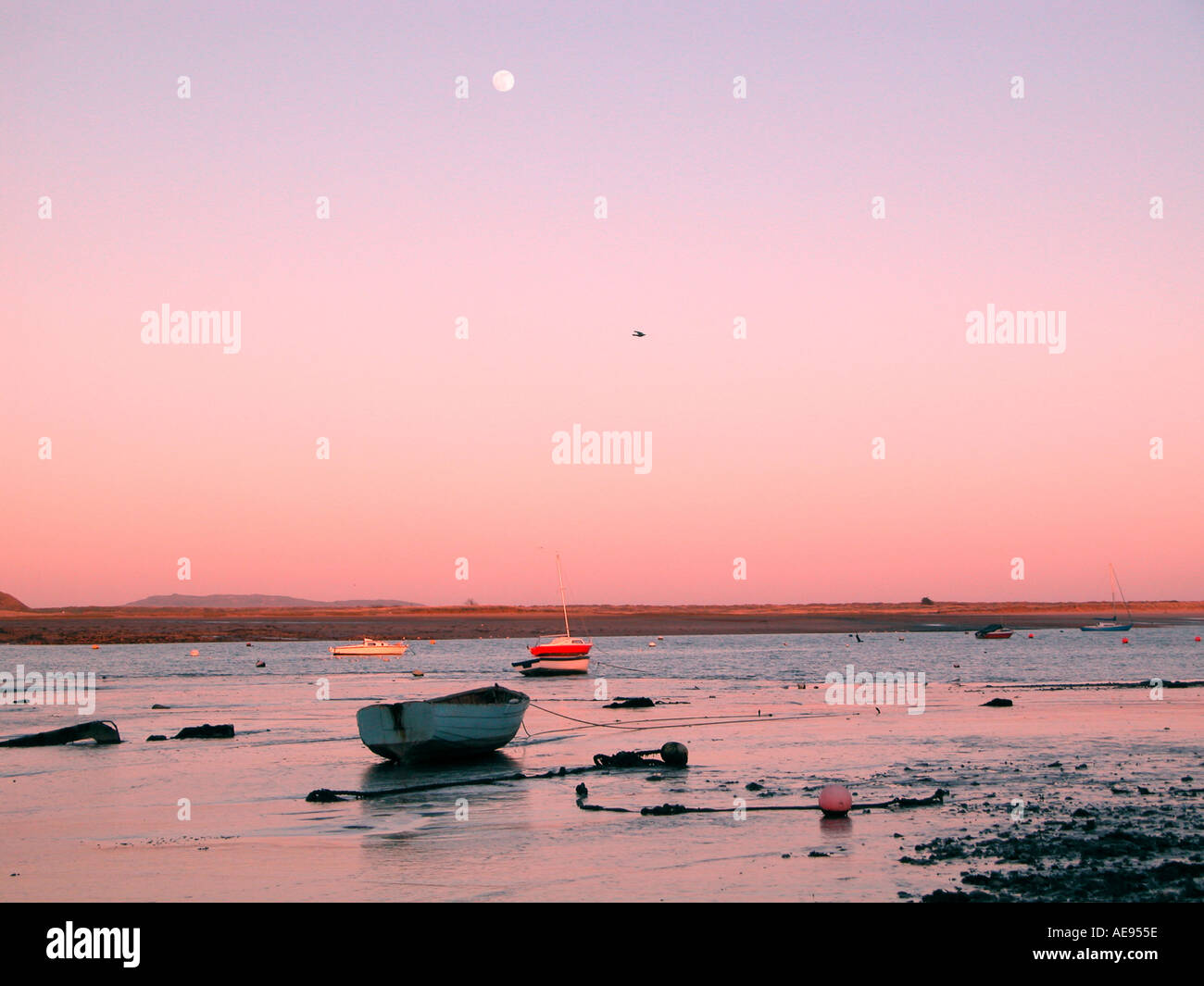 Low tide at Malahide channel in the evening Dublin - Stock Image