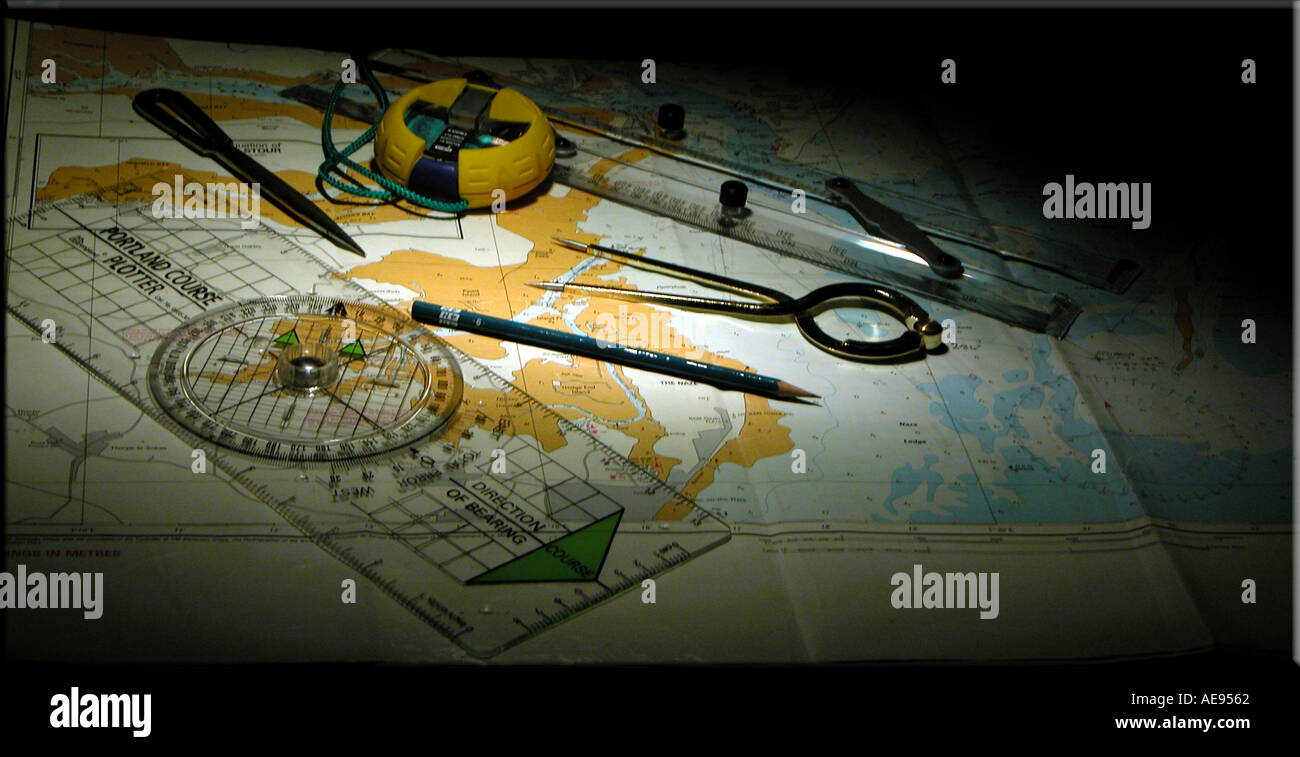 Navigation tools and nautical chart - Stock Image