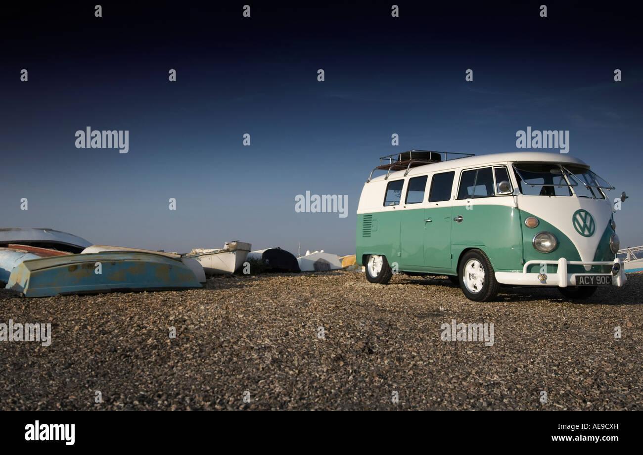 VW Camper van by the sea - Stock Image