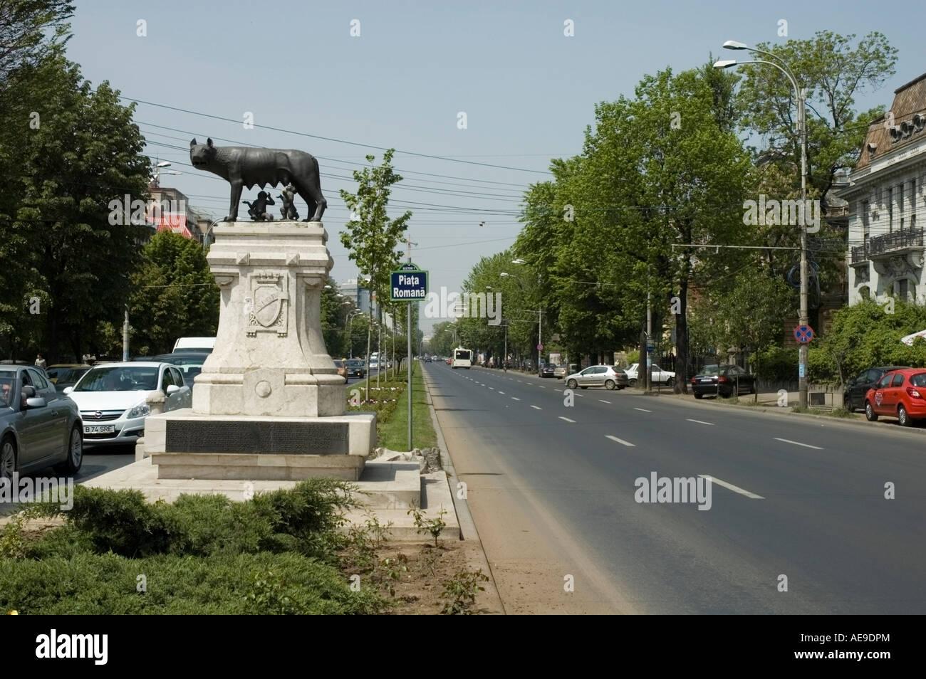 Romulus Remus statue, tree lined avenue, Piata Romana, Bucharest, Romania, Europe, EU - Stock Image
