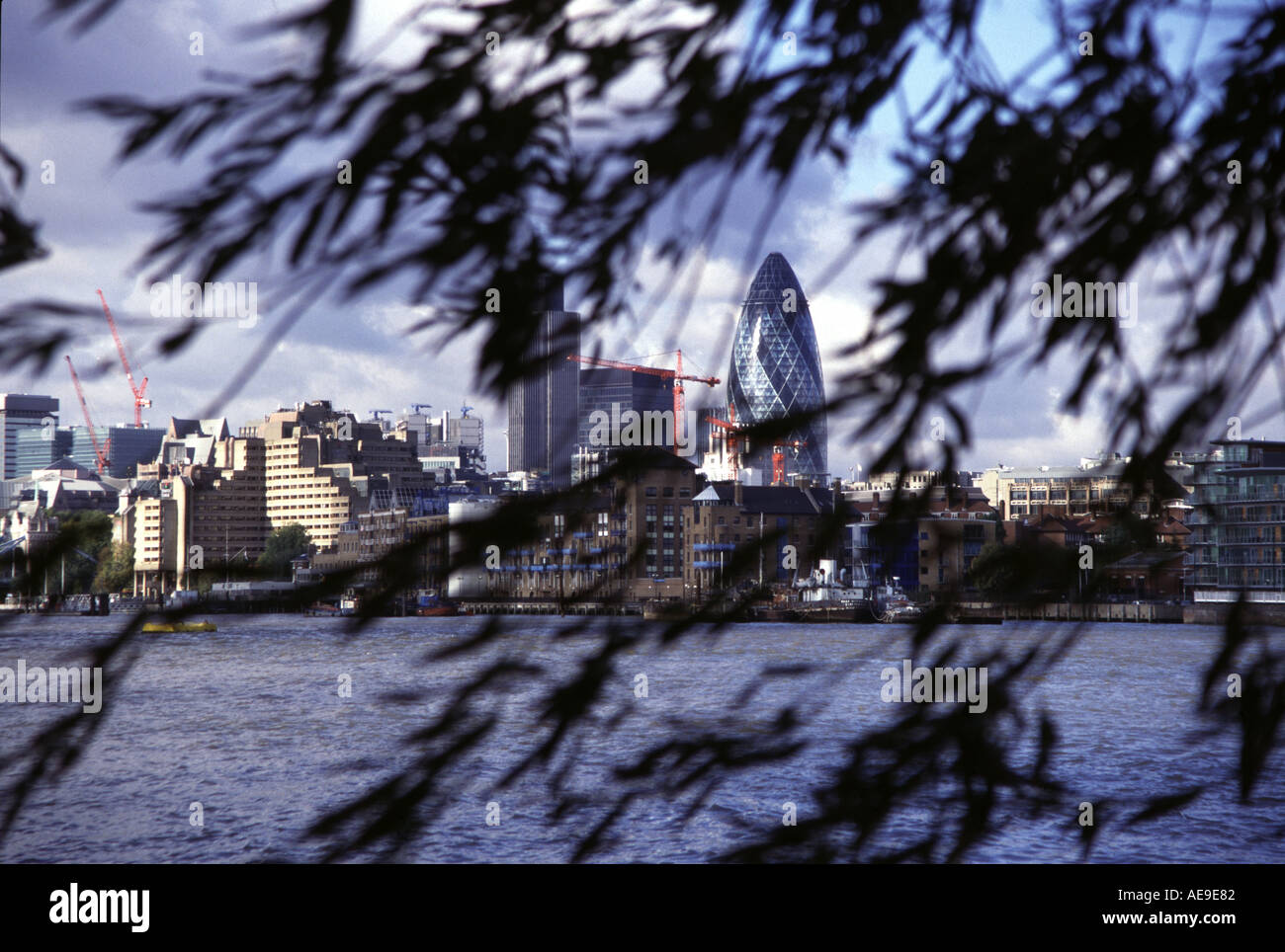 The Swiss Reinsurance Tower in London England popularly known as The Gherkin - Stock Image