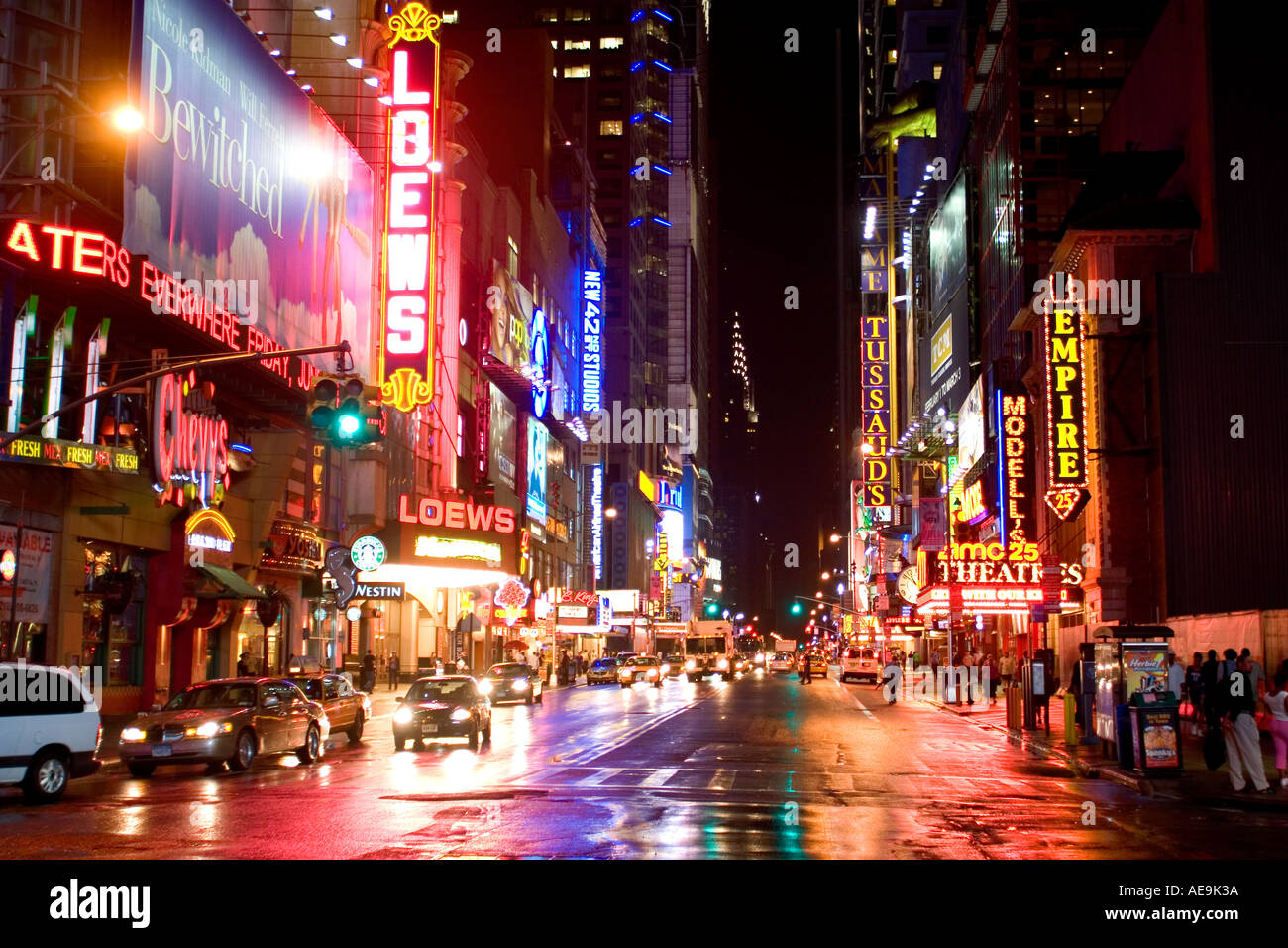 42nd St Times Square NY USA - Stock Image