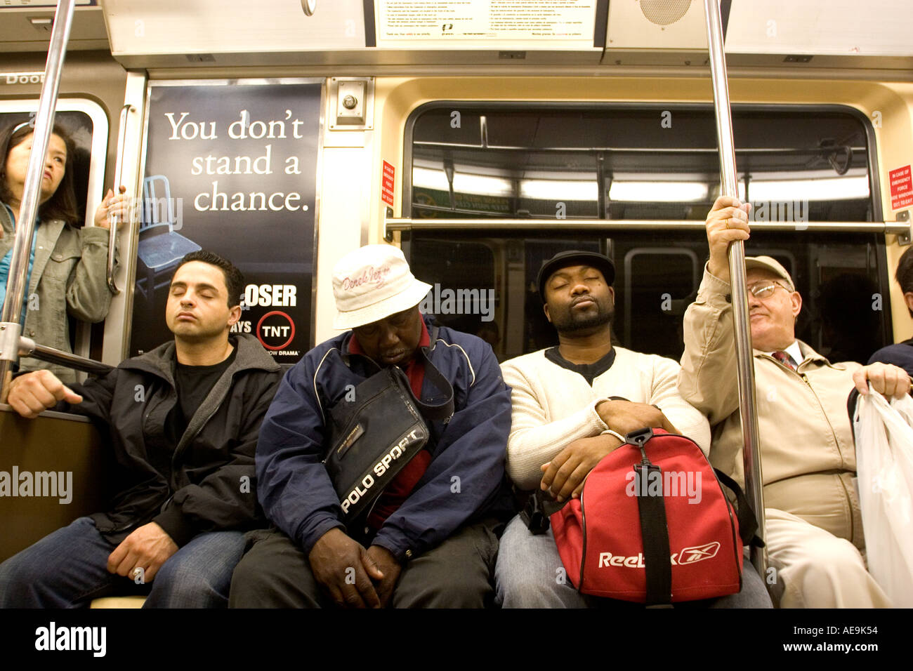 People sitting inside the subway train Manhattan NY USA ...