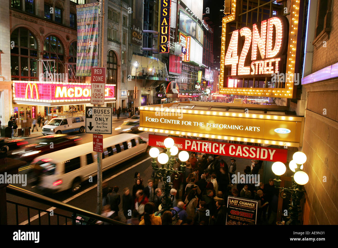 New York City Times Square 42nd Street Lion King Musical theatre - Stock Image