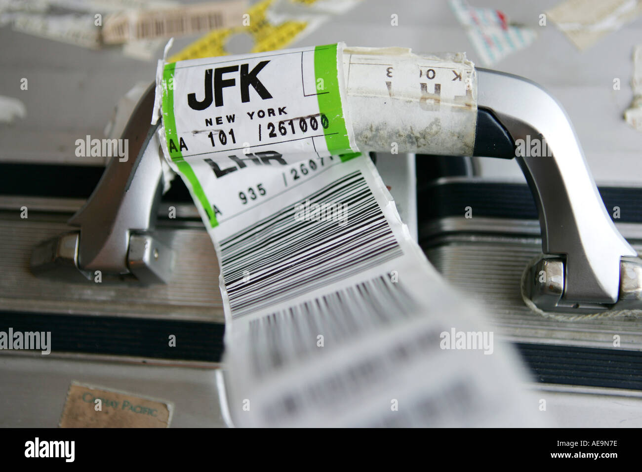 Suitecase Wit The Baggage Tag Of An Airline To Jfk Airport New York Stock Photo