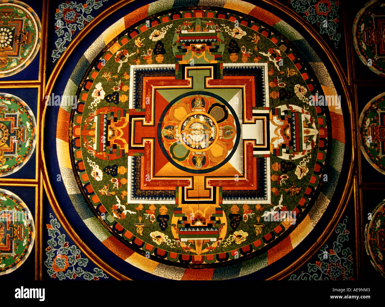Mandala on ceiling of stupa near Potala Palace in Lhasa Tibet - Stock Image