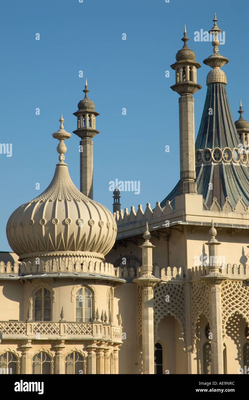 Close view of the Royal Pavilion against clear blue sky, Brighton, East Sussex, England, UK Stock Photo