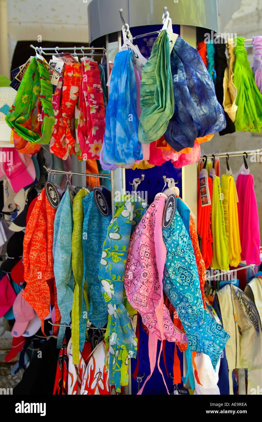 Colourful bandannas at a market stall in Kos Town Kos - Stock Image