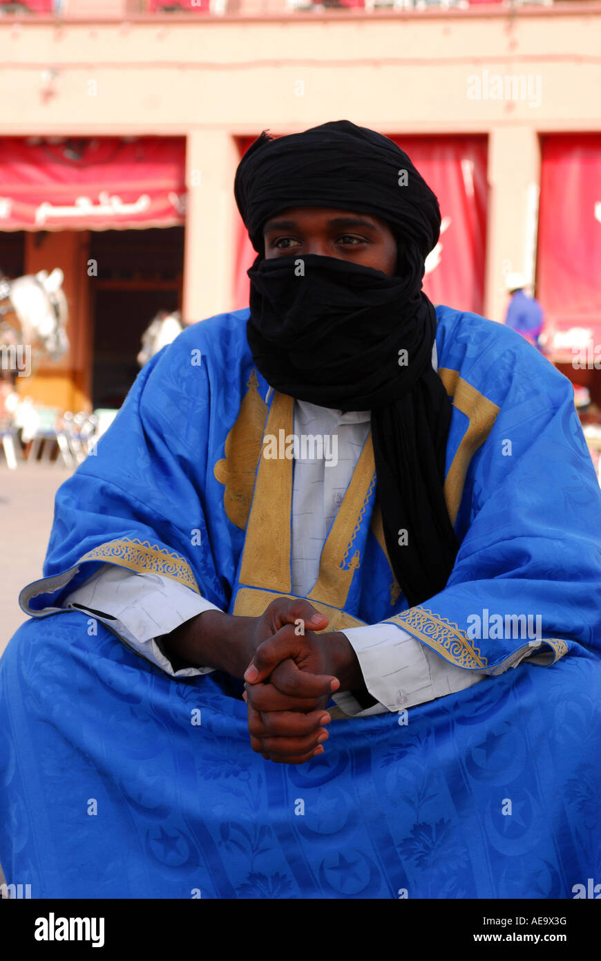 A blue man on Jemaa El Fna Marrakech, Morocco - Stock Image