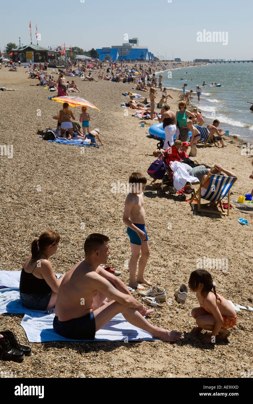A young family on the beach Southend on Sea Essex England Stock Photo