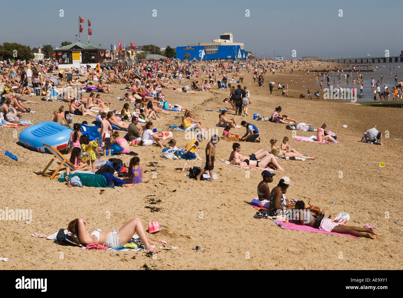 Southend on Sea Essex England the tide  is out. HOMER SYKES Stock Photo