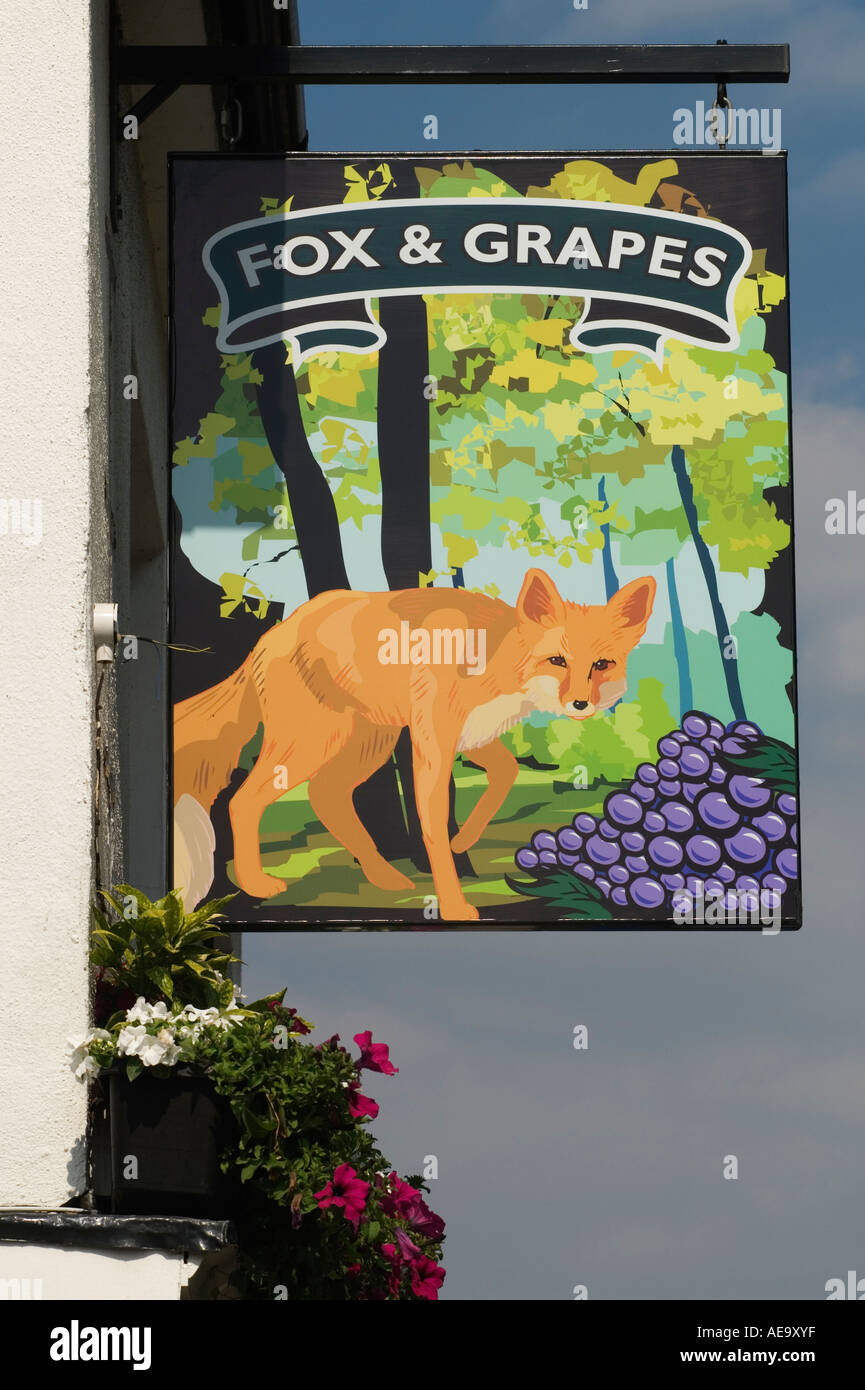 Fox and Grapes pub sign Wimbledon Common London SW19 England - Stock Image