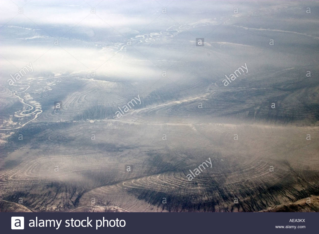 North eastern Russia, Siberia. Aerial view from aircraft of Russian tundra, above the artic circle, lots of scatted - Stock Image