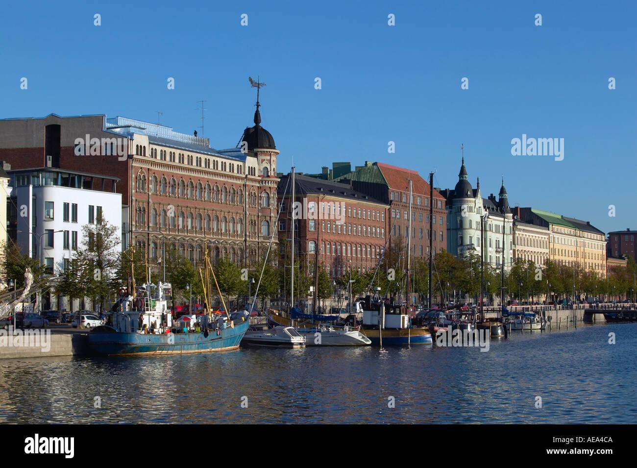 Finland Helsinki view of North Harbour towards Pohjoisranta Stock Photo
