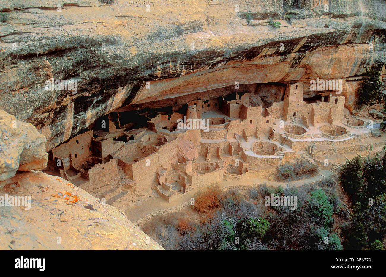 Very old Anasazi Indian village at Mesa Verde Arizona USA - Stock Image