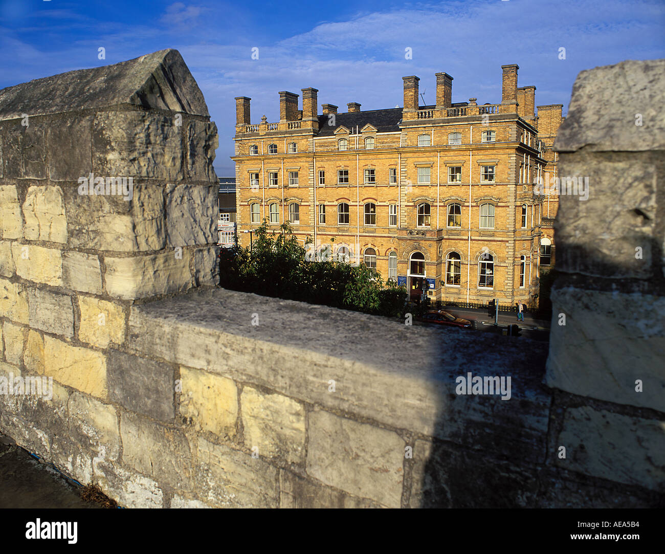 Grand Victorian Hotel purpose built for the railway York as viewed from York city walls - Stock Image
