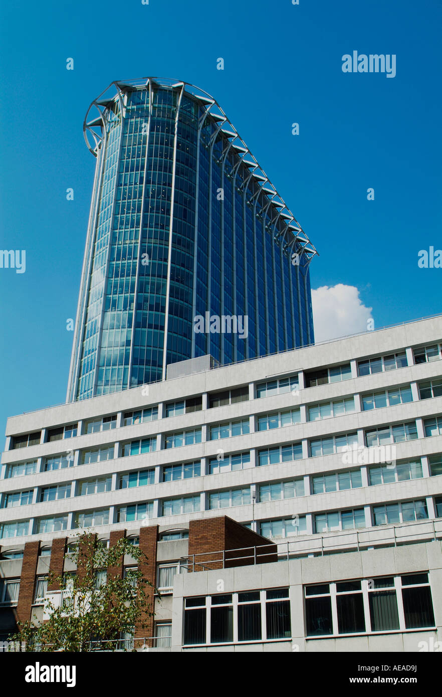 Barbican apartments and Citypoint Finsbury Circus in the City of London - Stock Image