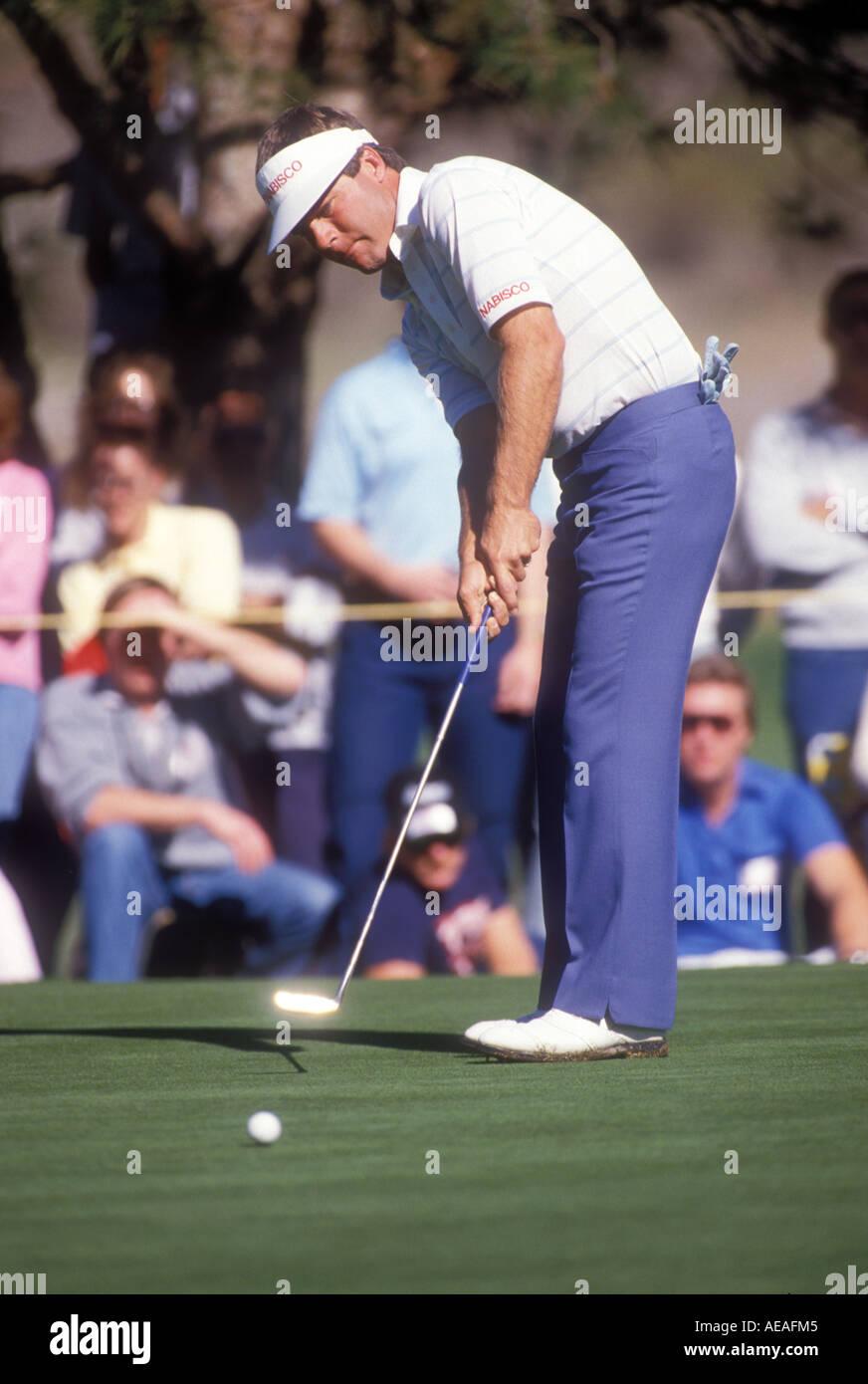 Ben Crenshaw competes in California golf tournament. - Stock Image