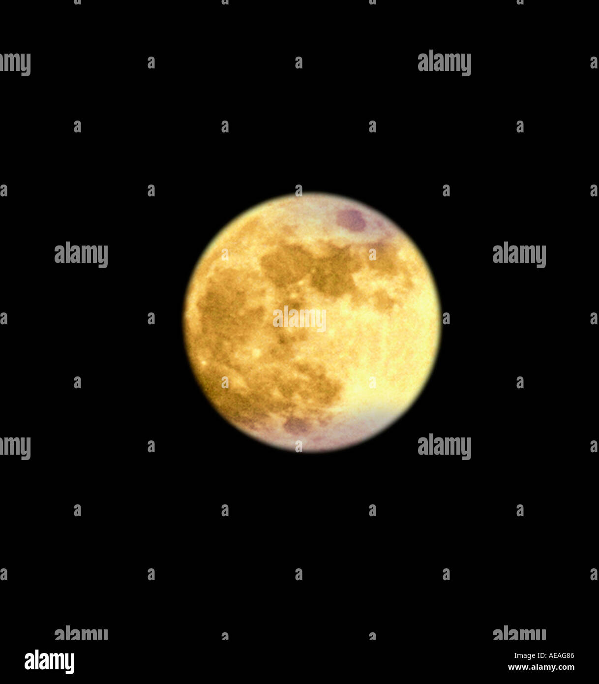 full moon against black sky - Stock Image