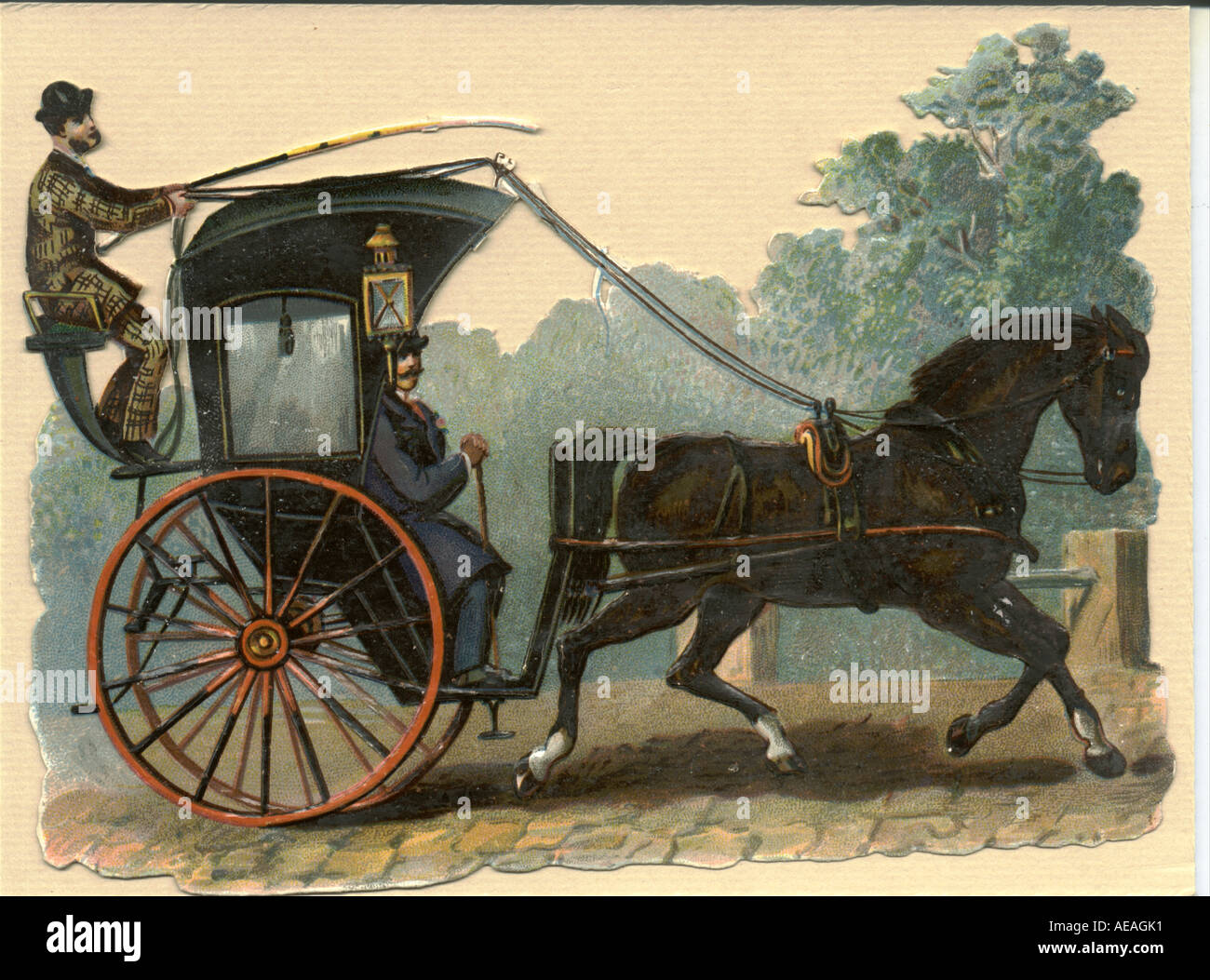 Chromolithographed die cut scrap of hansom cab circa 1880 Stock Photo