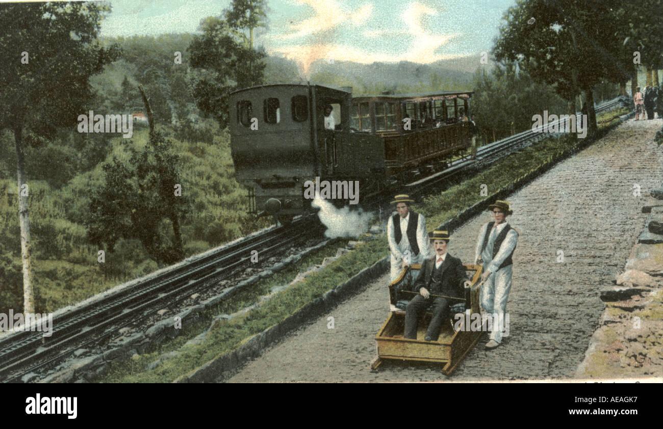 Monte Railway and Sledge car, Madeira, circa 1910 - Stock Image