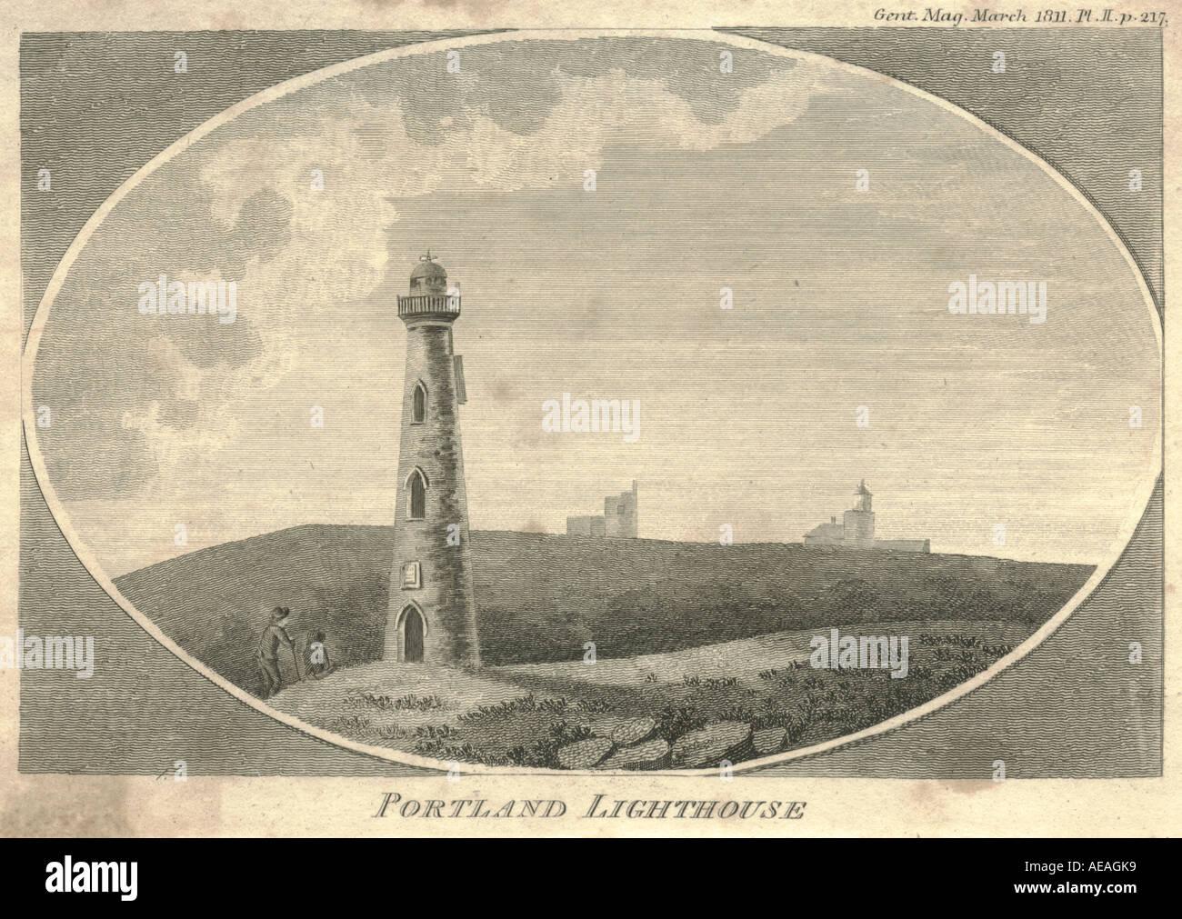 Portland Lighthouse circa 1811 - Stock Image