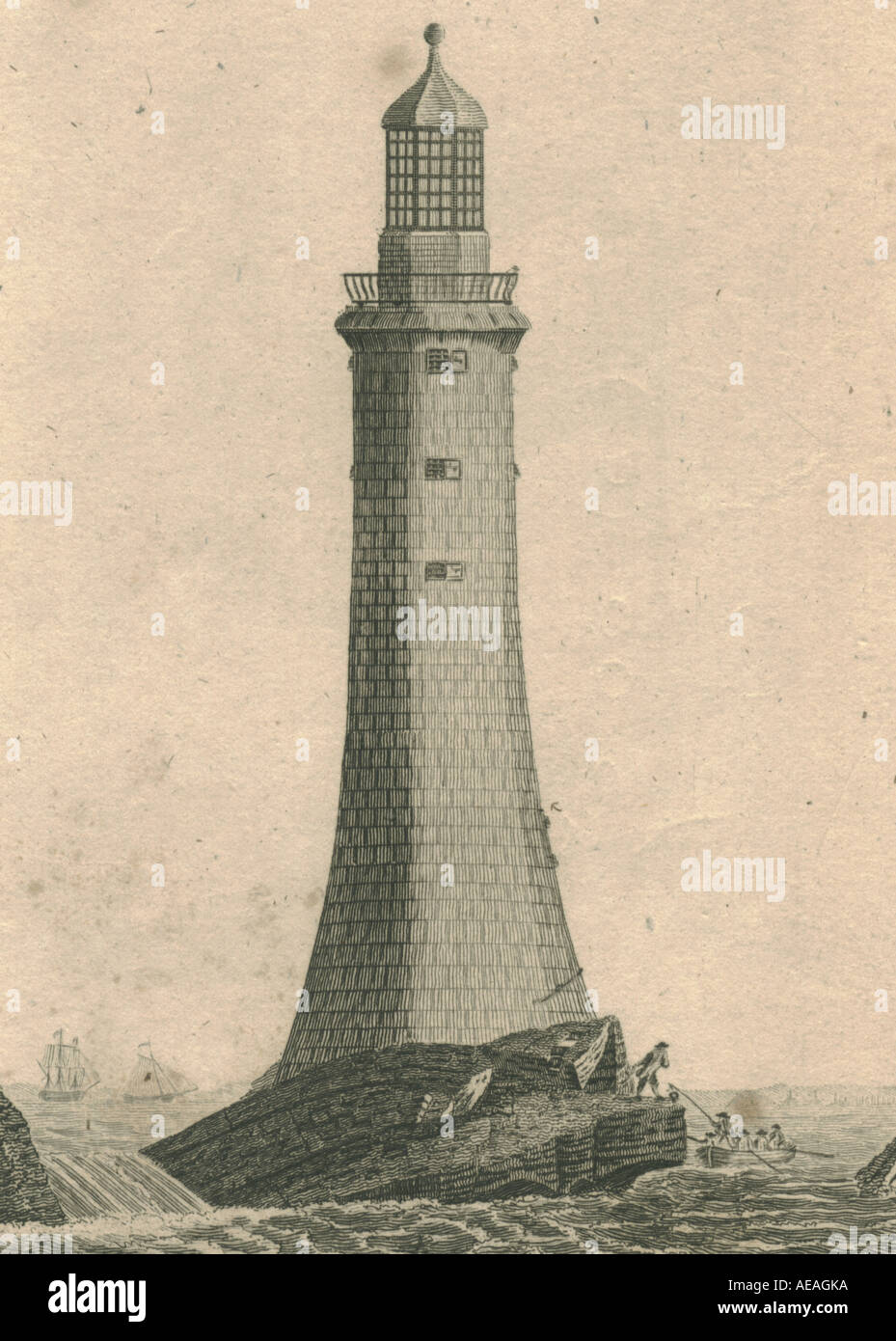 Eddystone Lighthouse circa 1791 - Stock Image