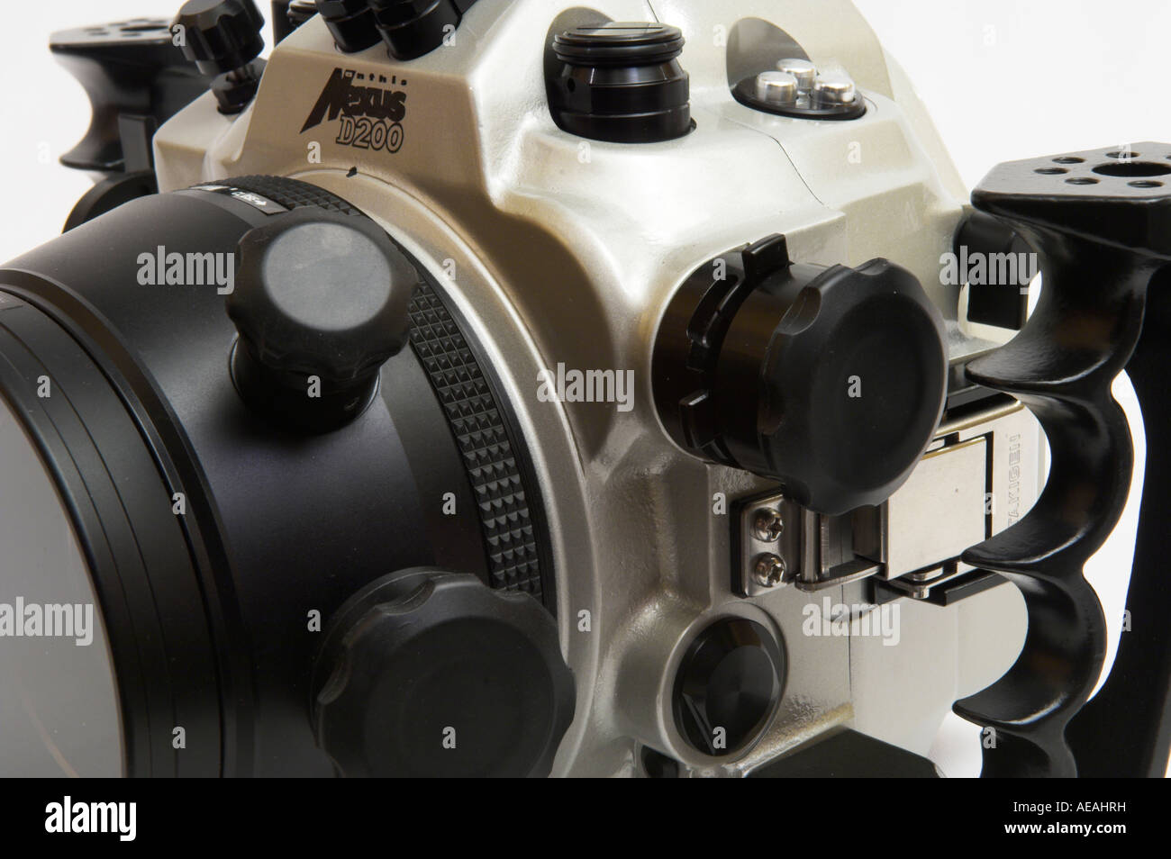 Closeup side view Nexus D200 underwater camera housing for Nikon with macro port - Stock Image