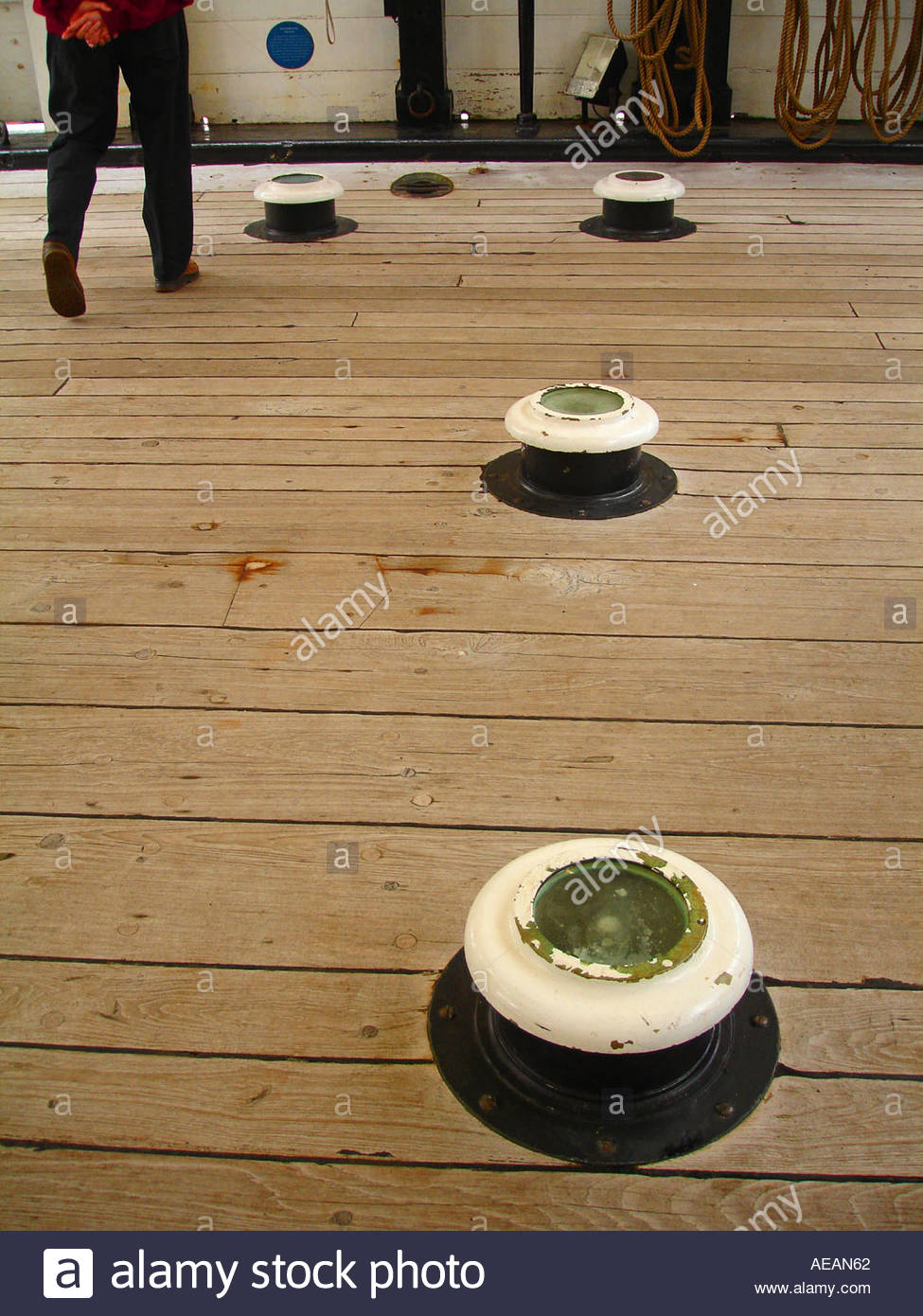 The deck of a tall ship - Stock Image