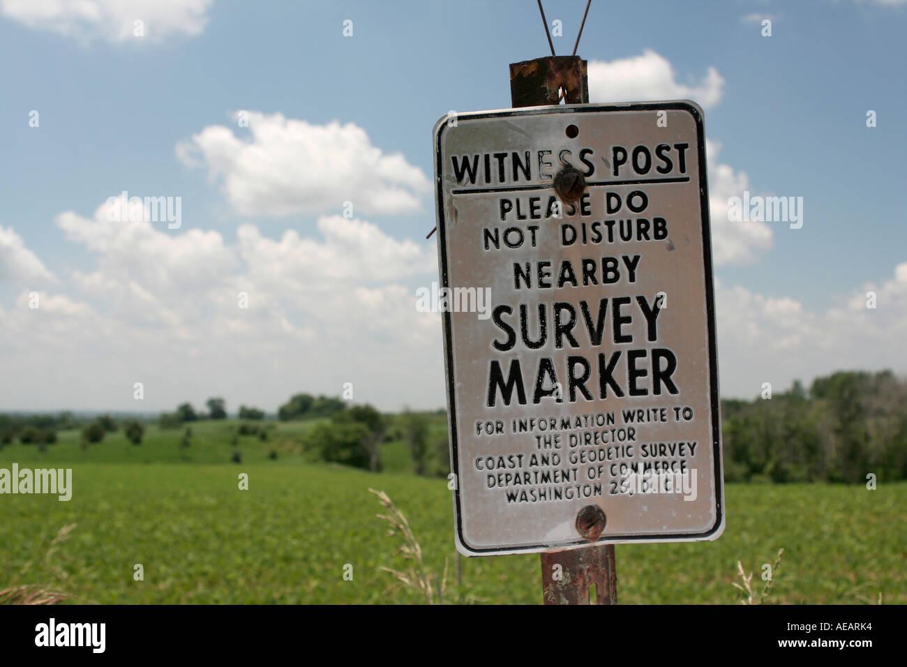 USGS Survey Marker Witness Post - Stock Image