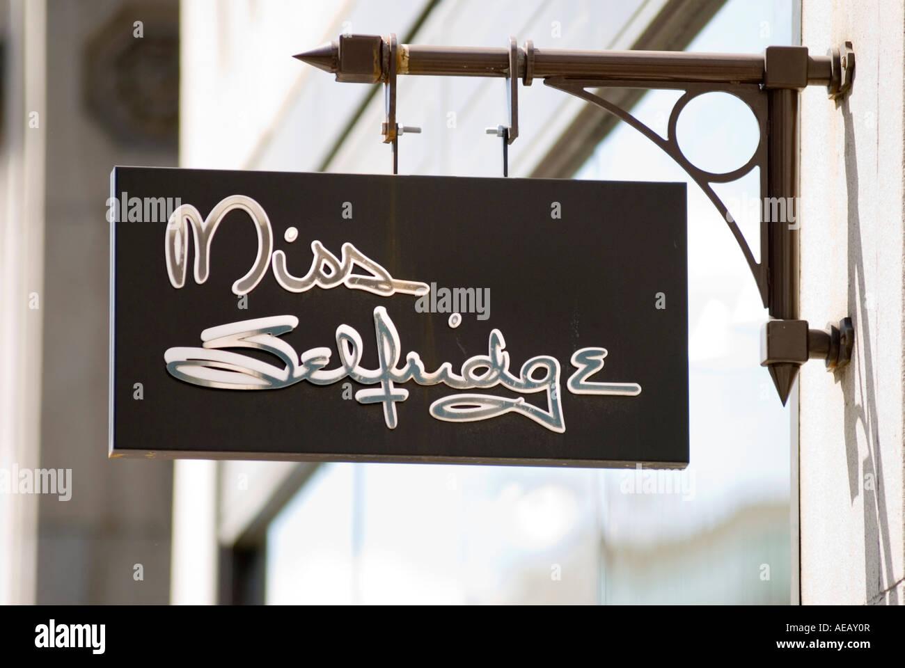 Miss Selfridge shop sign on Oxford Street in central London UK - Stock Image