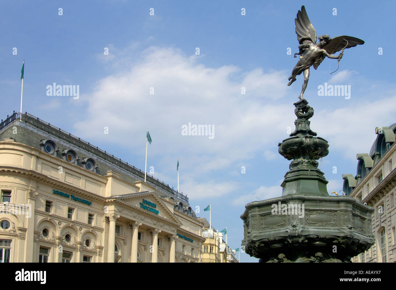 Trocadero building and Shaftesbury Memorial with Eros or Angel of Christian Charity Piccadilly circus London england - Stock Image