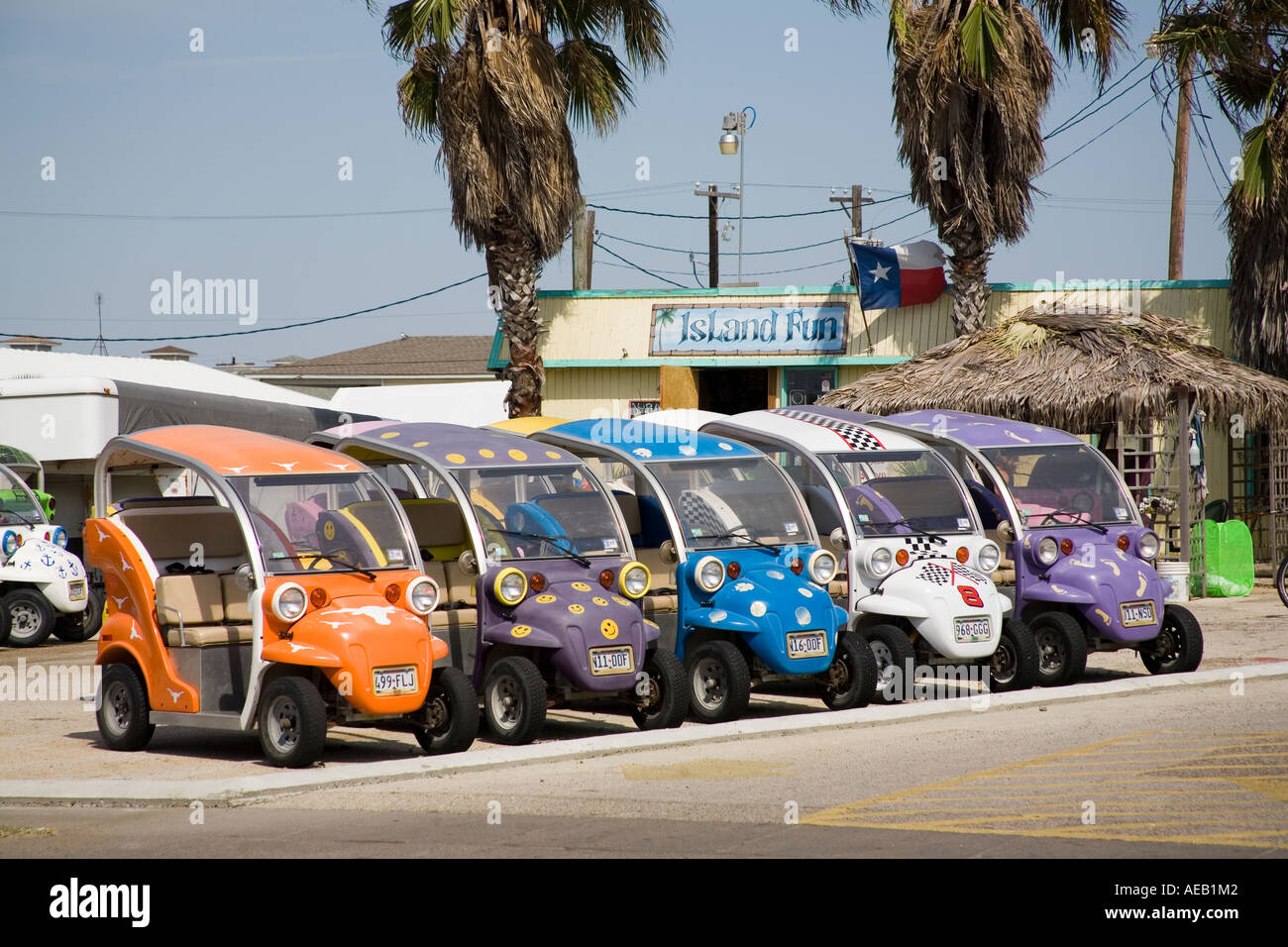 Novelty cars to rent for tourists Port Aransas on north end of Mustang Island, Texas Gulf Coast - Stock Image