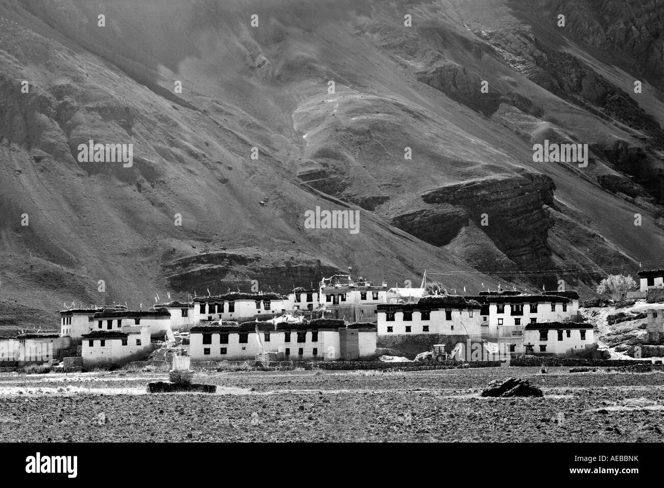 Pictorial View of village Losar in Spiti Valley, Kaza Himachal Pradesh India Stock Photo