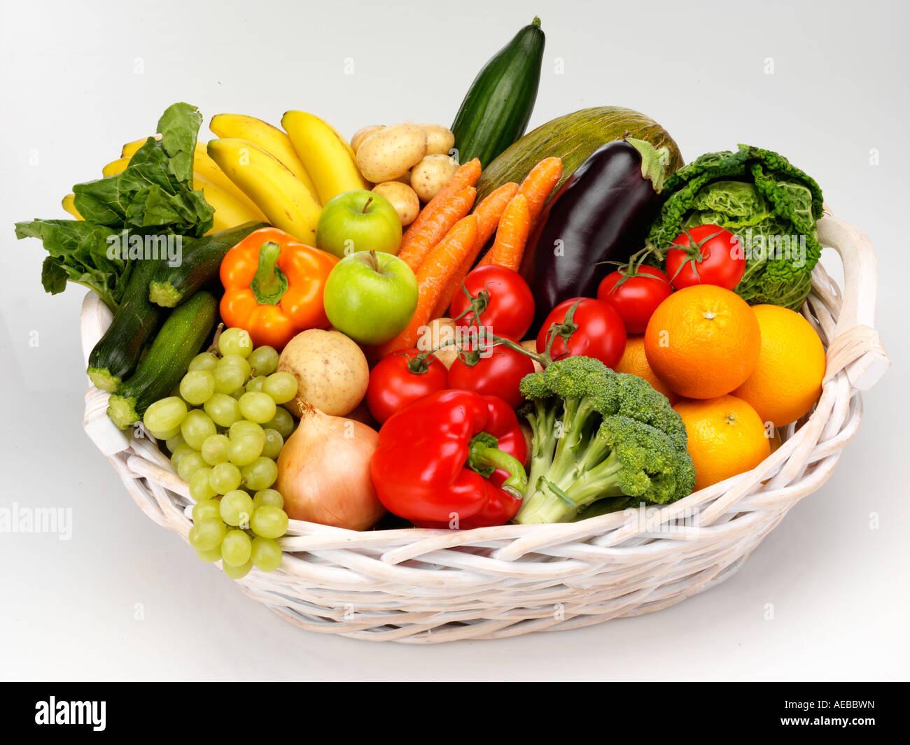 basket of fresh fruit and vegetables cut out stock photo 13629920 alamy. Black Bedroom Furniture Sets. Home Design Ideas