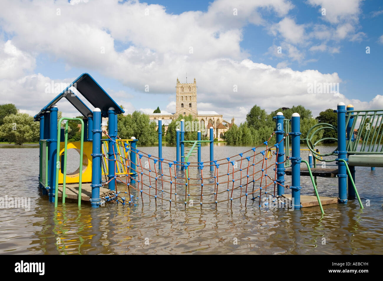 a childs playground flooded during  the Tewkesbury floods - Stock Image