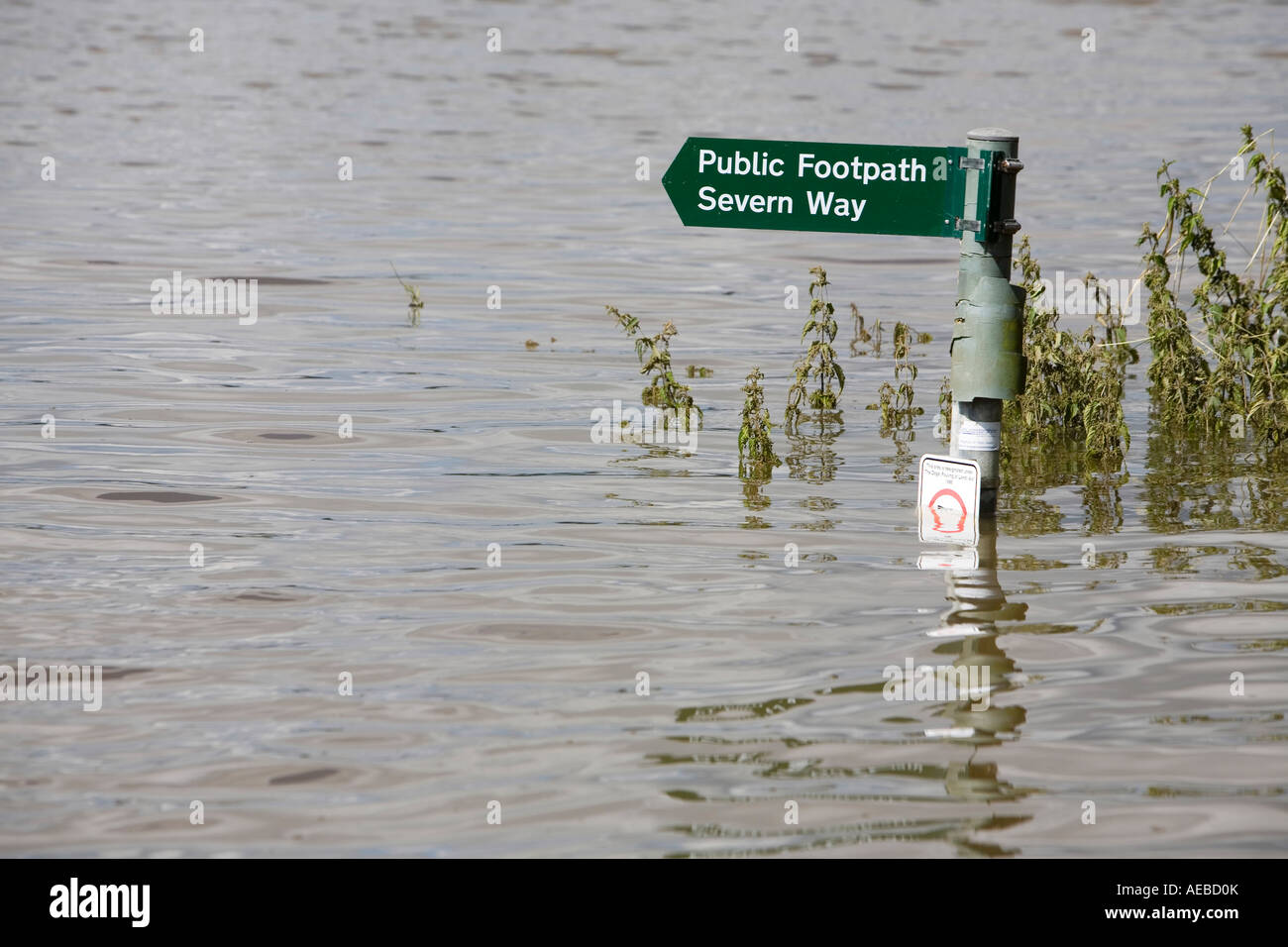 The river severn flooded in july 2007 - Stock Image