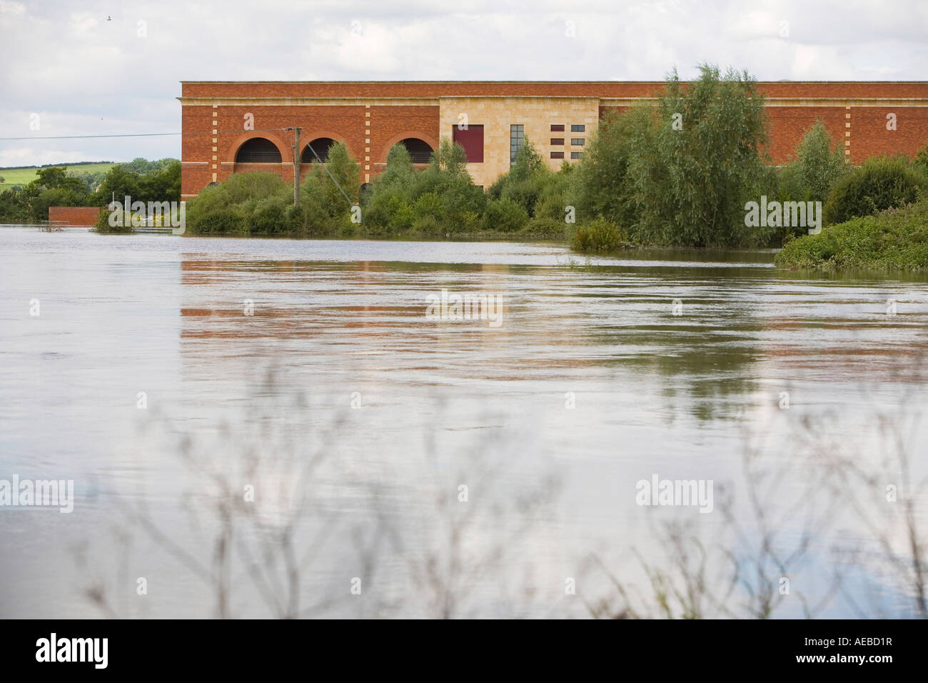 the flooded Myth water treatment plant in tewkesbury - Stock Image