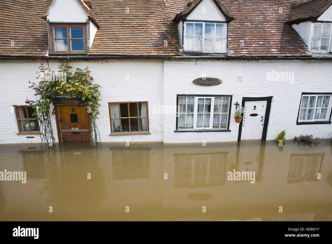 Old houses flooded in Tewkesbury - Stock Image