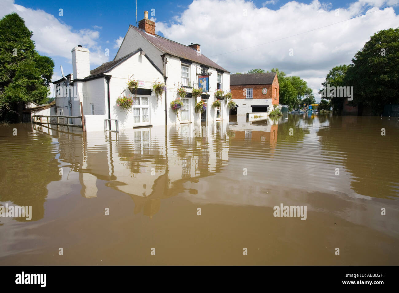 A pub flooded in Tewkesbury - Stock Image