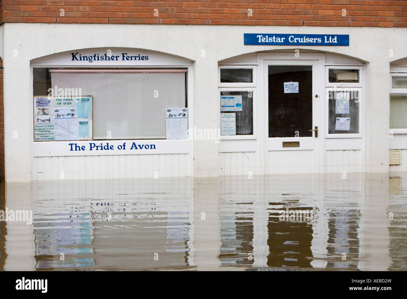Shops flooded in Tewkesbury - Stock Image