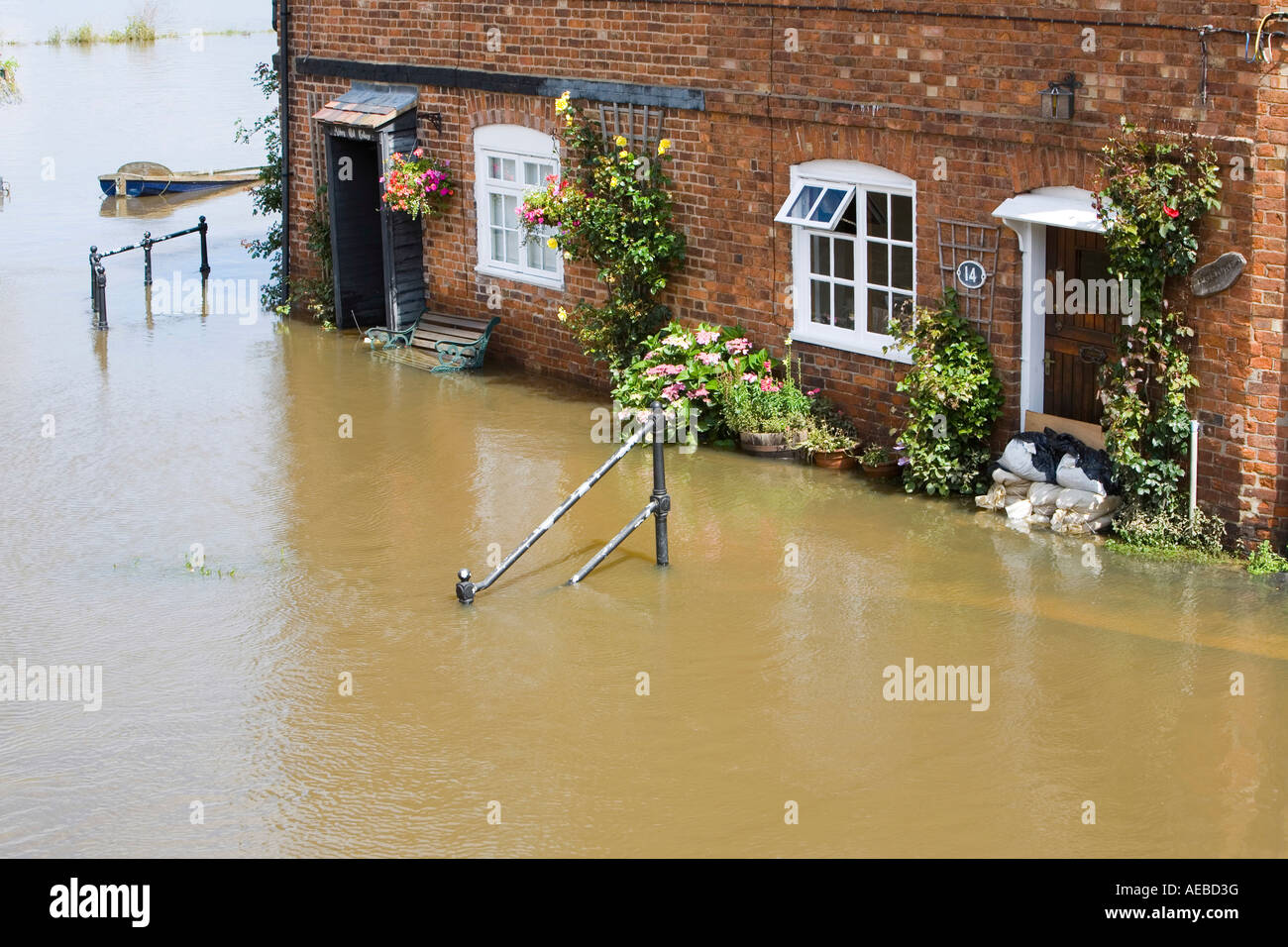 Houses flooded in Tewkesbury - Stock Image
