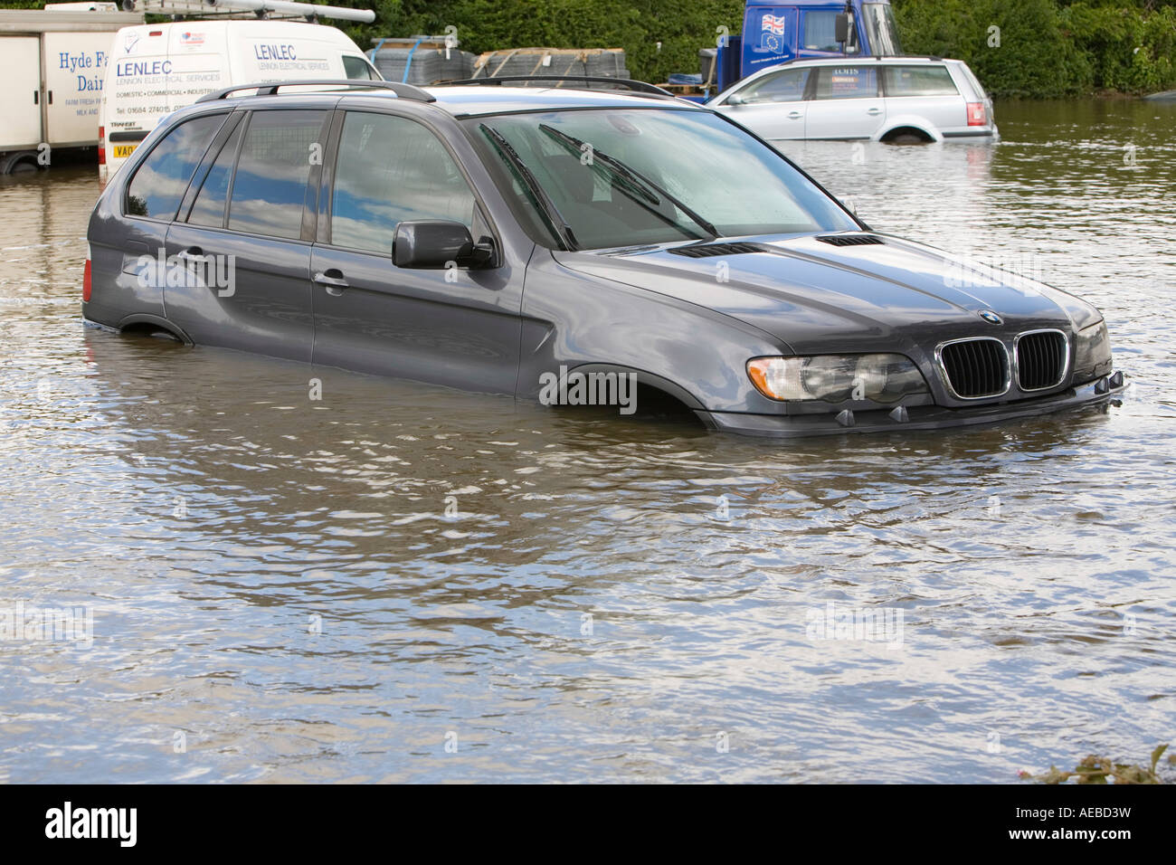 A flooded car in Tewkesbury - Stock Image