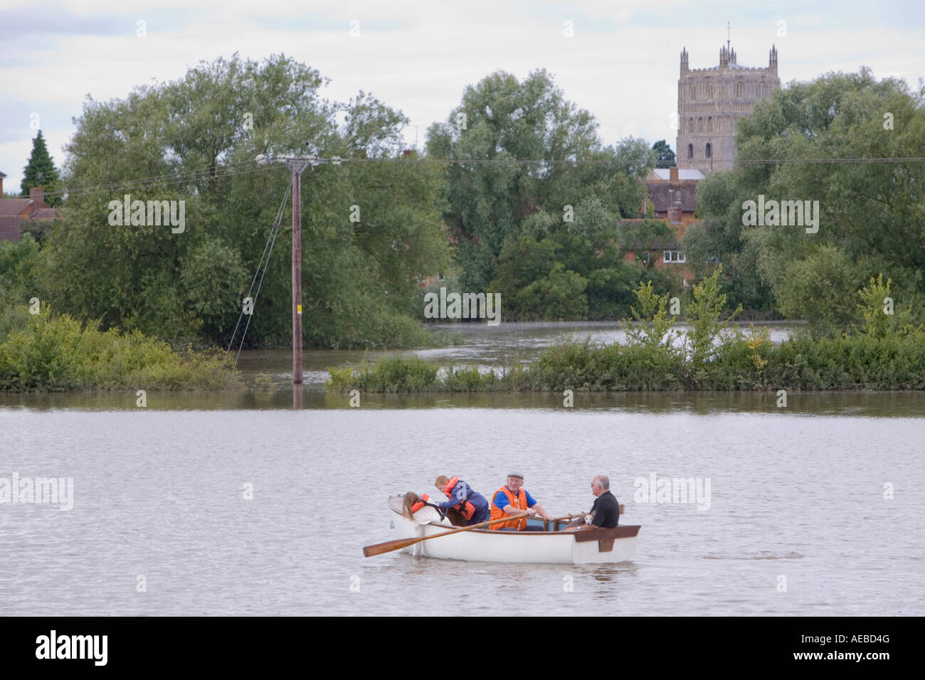 Residents escaping the flooding in Tewkesbury - Stock Image