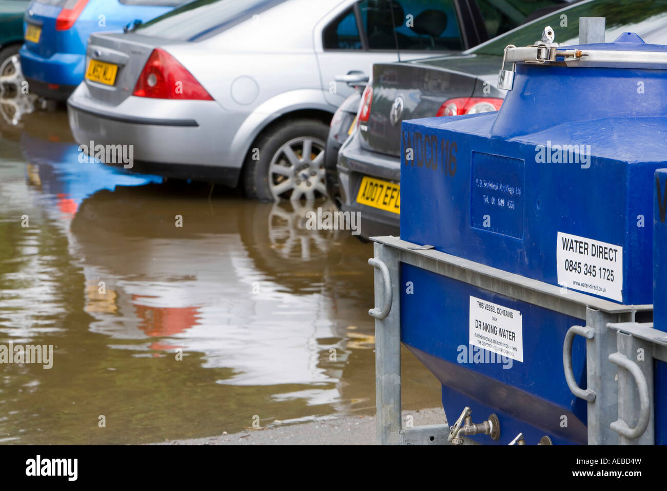 Flooded cars in Tewkesbury - Stock Image