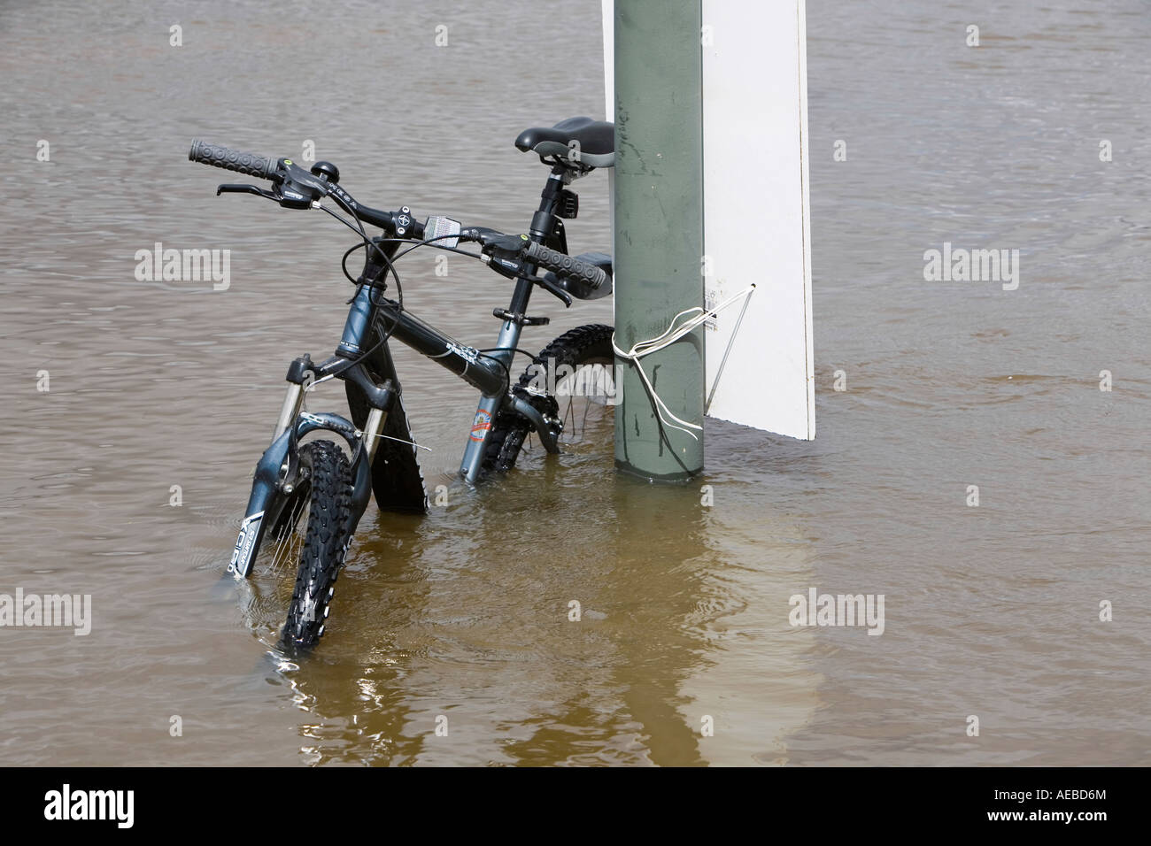 A bike in floods in upton upon Severn - Stock Image