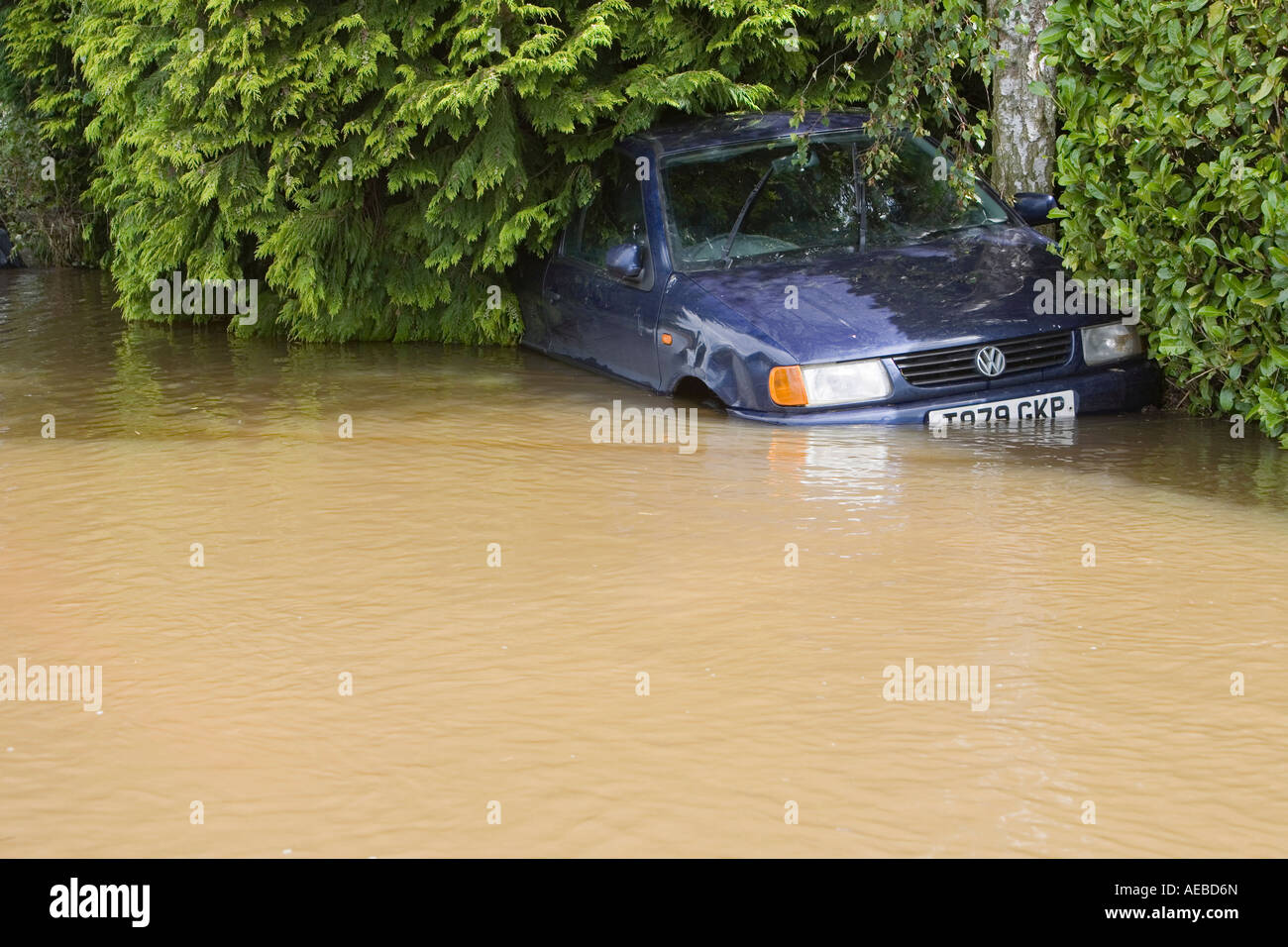 A car washed away in upton upon Severn - Stock Image
