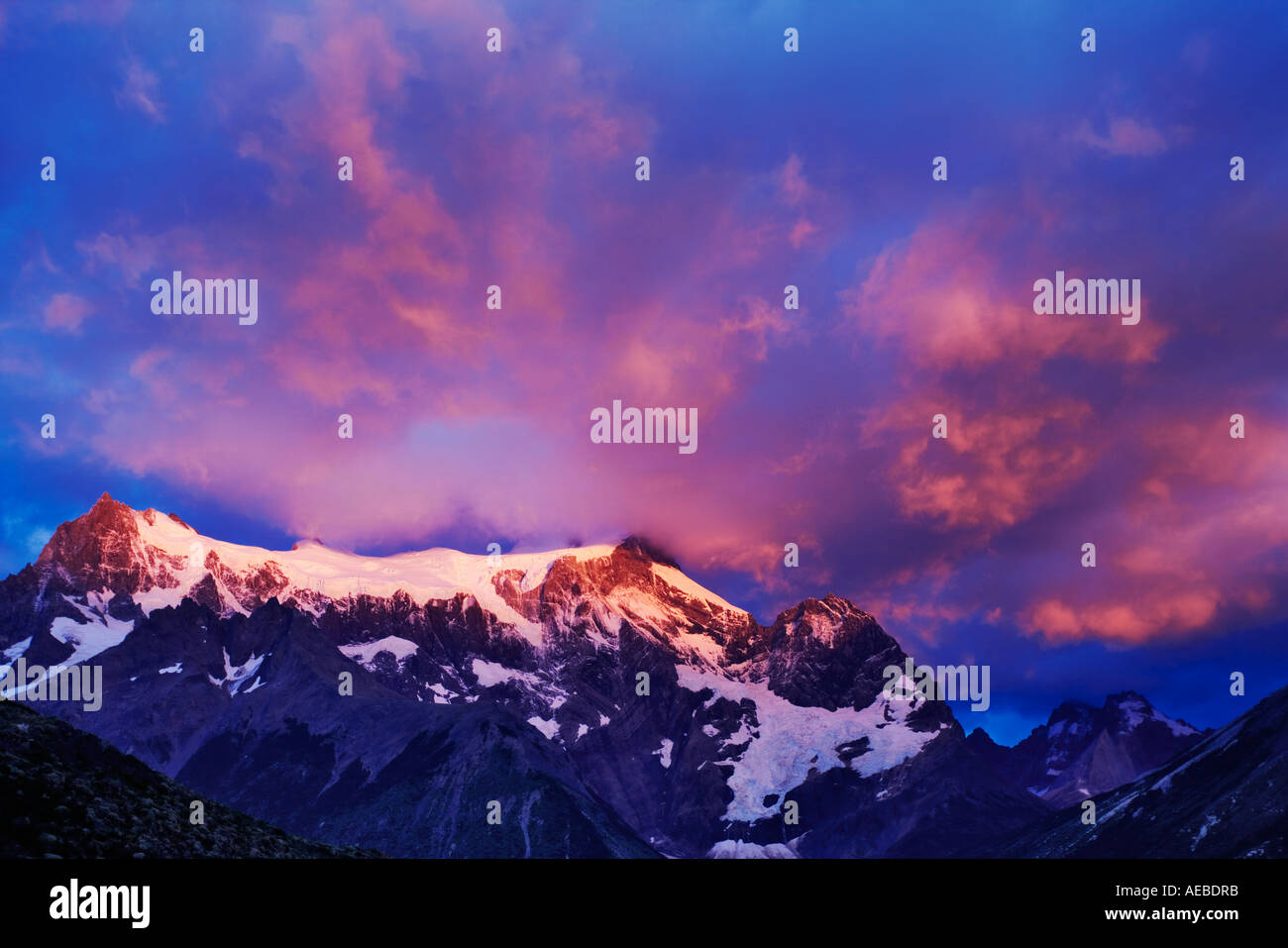 Mountain view Majestic snowcapped mountains at sunrise Torres del Paine National Park Chile - Stock Image