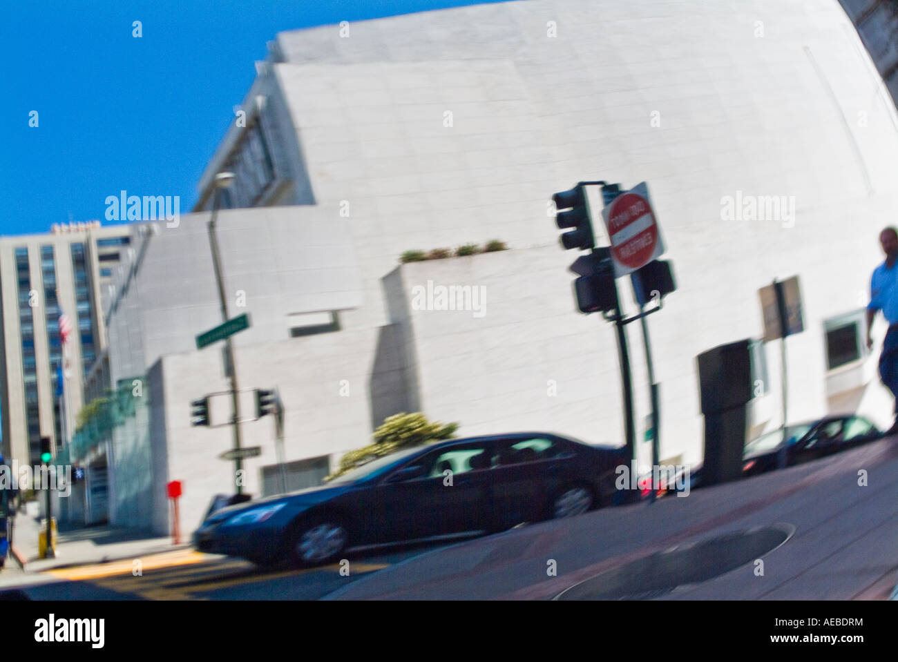 Blurred reflection of urban building in car window Stock Photo